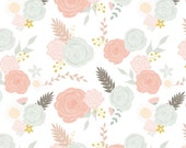 Spoonflower's Summer Blooms on White fabric designed by Mint Peony - printed on a variety of cotton fabrics - by the yard