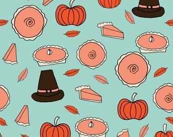Pumpkin Fabric - Pumpkin Pies / Mint Pumpkin Pie Kitchen Autumn Leaves Pumpkin Baking Food By Andrea Lauren