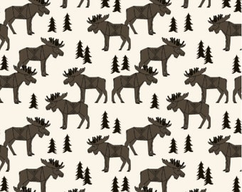Moose Fabric - Moose Forest - Dark Brown And Cream Custom Fabric By Andrea Lauren - Moose Cotton Fabric By The Yard with Spoonflower