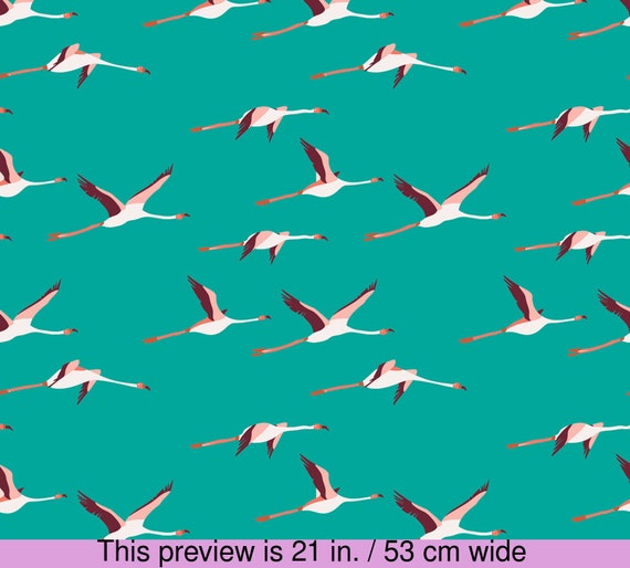 Flying Flamingo Fabric Tropica Flamingo Turquoise By