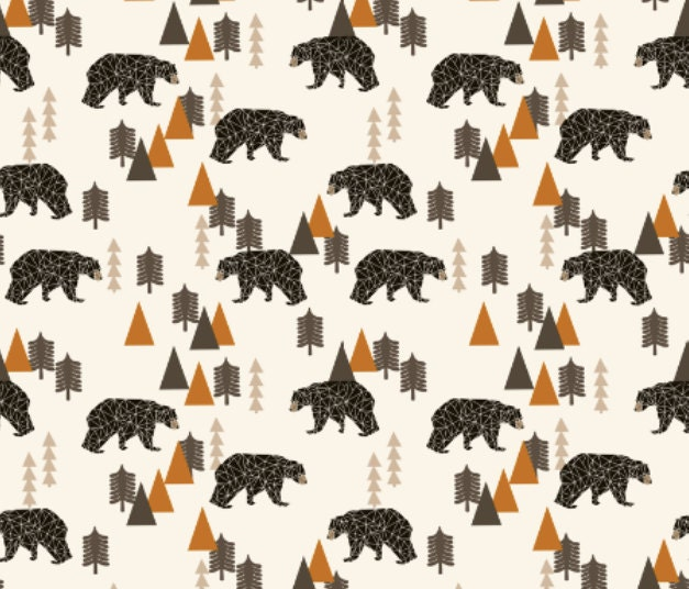 Bears Fabric Bear Forest Woodland Camping Trees Outdoors