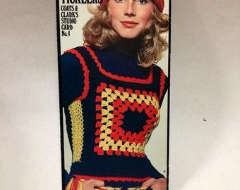 Vinage 1970s Granny Square Vest Rib Tickers Crochet Pattern Coats & Clark