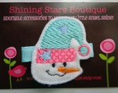 Hair Accessories - Aqua Blue, White, And Pink Holiday Embroidered Winter Snow Girl With A Hat Hair Clippie For Girls