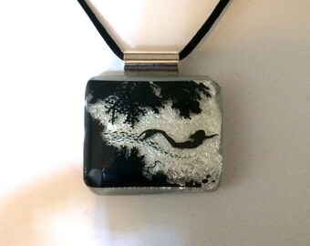 """The Mermaid"""" Fused Silver Dichroic Glass Pendant Necklace"""