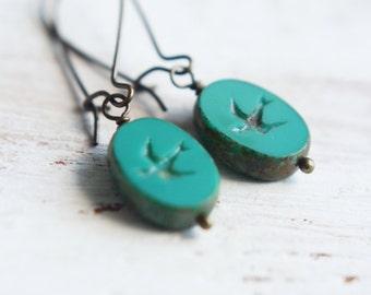 Beaded Earrings - Sparrow in Flight - Pressed Czech Glass Earrings - Teal