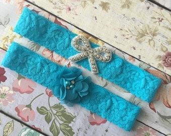 Turquoise wedding garter , lace wedding garter , bridal garter set , vintage lace garter , toss garter , something blue wedding garter