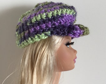Barbie Ken Handmade Clothes Variegated Purple Green Newsboy Hat Crocheted