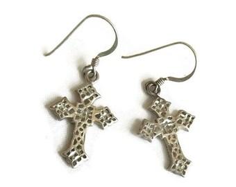 Vintage Pierced Silver Tone Cross Dangle Earrings
