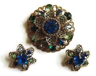 Blue & Green Rhinestones Brooch and Earrings Set – Vintage Filigree Layered Flower