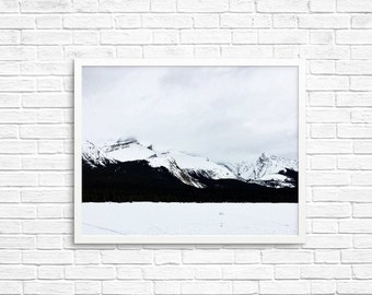 BUY 2 GET 1 FREE Canada Wall Art, Jasper Alberta, Wall Decor, Mountain Print, Canadian Decor, Adventure Photography, Black White Decor