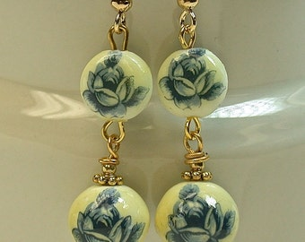 Vintage Japanese Tensha Dangle Drop Blue Rose Bead Long Earrings , Gold French Ear Wires
