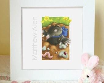 Personalized Nursery Art - Personalized Baby Boy Gift - Custom Name Nursery Wall Art - Personalized Woodland Nursery Decor - UNFRAMED PRINT