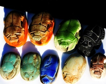 Vintage 1930s Stone Ceramic Hand Cast Carved Faience Egyptian Revival Scarab Beetles