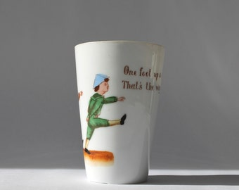 Antique Porcelain Nursery Rhyme Tumbler, London Town, Illustrated Children's Song, Made in Germany
