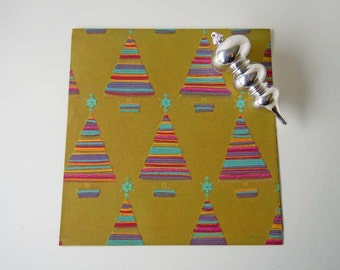 Vintage 1970's Yarn Christmas Tree Christmas Wrapping Paper Olive Green Gift Wrap