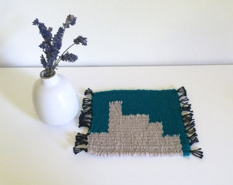 Tiny Table Textile No.9 - Turquoise and Grey