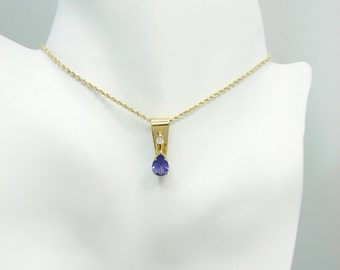 PENDANT 14K Gold with Man made Tanzanite Pear with Diamond Accent PEN14KMMTPEARDIAM