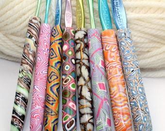 Polymer clay crochet hook set of 8, New Boye hook set, Sizes D/3 through K/10.5, handmade designs, ready to ship