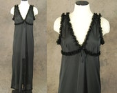 CLEARANCE vintage 60s Night Gown - Black Ruffled Sheer Full Nightgown 1960s Lingerie Sz M