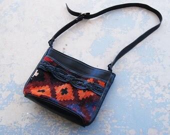 vintage 80s Kilim Purse - 1980s Ethnic Tapestry and Black Leather Shouder Bag