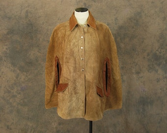 Clearance SALE vintage 70s Suede Cape - 1970s Hippie Brown Suede Leather Poncho  Sz S M L