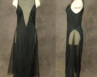CLEARANCE vintage 70s Nightgown - Black Sheer Cutout Maxi Nightgown 1970s Sheer Mesh Lingerie Sz M