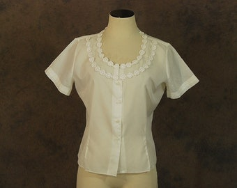 Clearance Sale vintage 60s Sheer Blouse - 1960s White Sheer Nylon Shirt Sz L