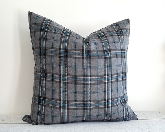 grey blue plaid pillow covers grey throw pillows blue grey. Black Bedroom Furniture Sets. Home Design Ideas