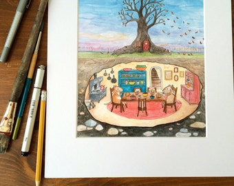 """Wall art, 8x10 matted print of a watercolor. """"Around the Family Table"""" Chipmunks in their underground home."""