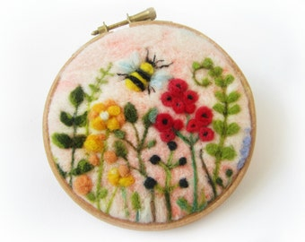 Felted Painting,Needle Felted Picture,Floral Painting,Miniature