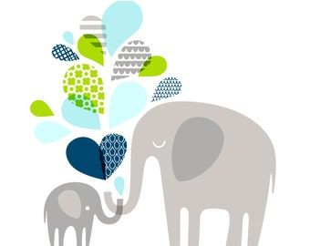 "14X11"" Elephants silhouettes landscape giclee print on fine art paper. Sky blue, bright apple green, navy, gray."