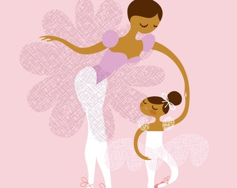"8X10"" Ballerina mother and daughter giclee print on fine art paper. Pink, lilac, caramel skin tone."