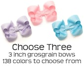 """3 Inch Hair Bows, Grosgrain Bows Set, 3"""" Hair Bows for Girls, Set of 3 Boutique Bows for Toddlers, Choose Colors, Medium Bows for Baby Girls"""