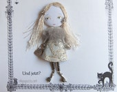 Young Girl , Art doll brooch, Personalized gift for her