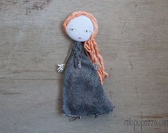 Romantic Girl, Art doll brooch, Personalized gift for her