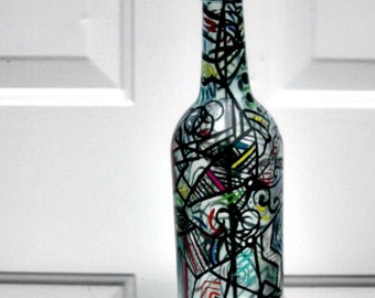 Incense Burner, Smoking Bottle, Recycled Clear Bottle, Incense Holder, Hand Painted, Zentangle Style, Abstract
