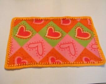 Fleece Heart Doll Blanket