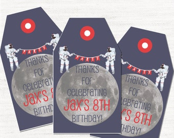 Man on the Moon Space Birthday Party Favor Tag Thank You Tag
