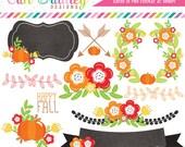Floral Elements Fall Clipart Laurel Wreath Flowers Arrows Pumpkins Labels Commercial Use Clip Art Digital Graphics