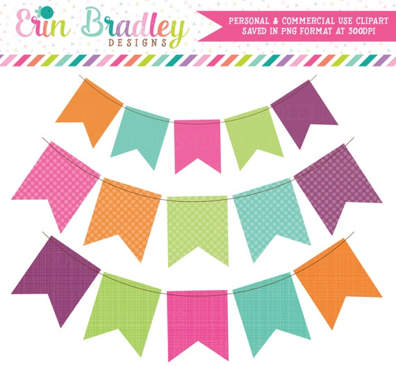 Fiesta Bunting Digital Clip Art Graphics in Pink Orange Green Blue & Purple Commercial Use Banner Clipart