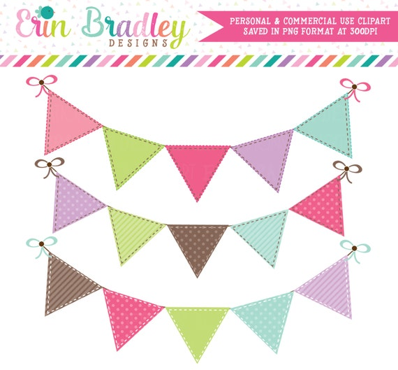 Bunting Banner Flags Clipart Clip Art for Personal & Commercial Use Pink Brown Green Blue and Purple