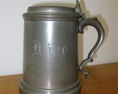 Vintage Glass Bottom Lidded English Pewter Stein Tankard Mug - Engraved Mug - MIKE - Gift