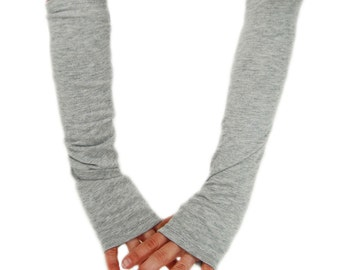 Arm Warmers in Light Cloud Grey - Cotton Fingerless Gloves - LAST PAIR