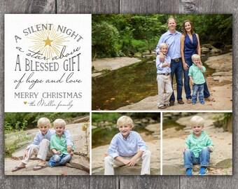 Silent Night - DIGITAL Custom Christmas Holiday Photo Card