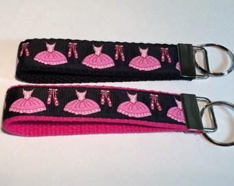 Black and Pink Ballerina Keyfob Wristlet