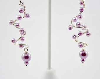 Lavender Pearl Wire Wrapped Earring, Spiral Corkscrew Earrings, Gift for Her, Handcrafted Jewelry