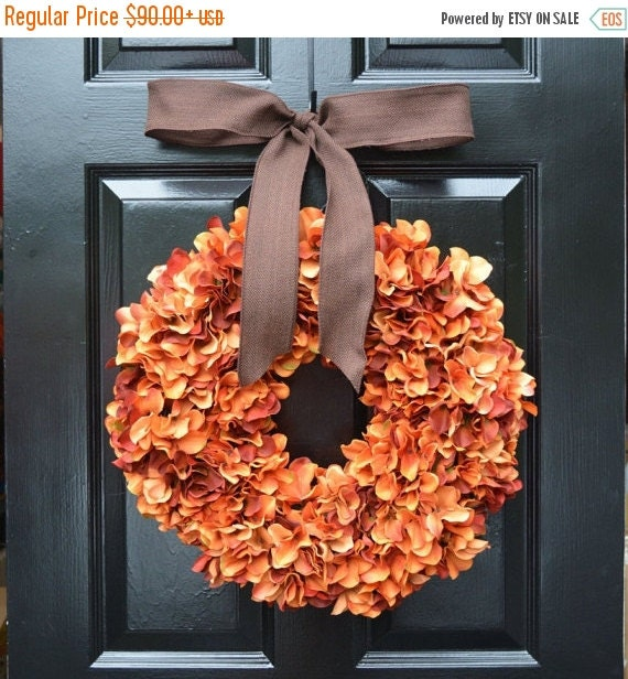 Orange Hydrangea Pumpkin Wreath Hydrangea Fall Wreath, Ready to Ship, Fall Decor, Orange Pumpkin Spice Fall Wreath