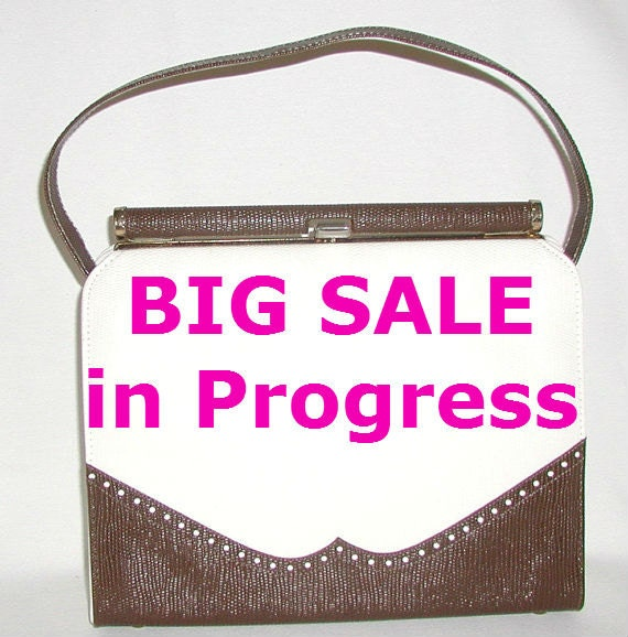 SALE ... Spectator, brown and cream vintage handbag