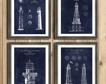 4-piece Lighthouse Blueprint gift set - Lighthouse tower blueprint art print, lighthouse decor, lighthouse art, seaside decor, beach decor