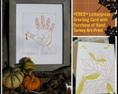 Letterpress Thanksgiving Hand Turkey Art Print with *FREE* GREETING CARD